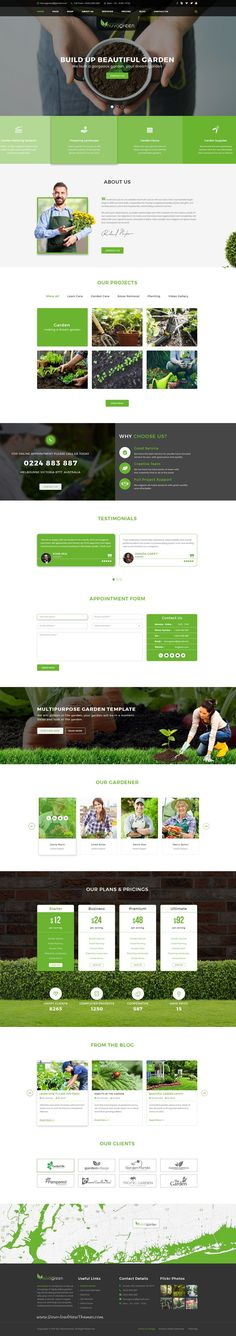NuvaGreen is clean and modern design PSD template for gardening, #landscaping, agriculture and #lawn services website with 5 homepage layouts and 21 layered PSD pages to live preview & download click on Visit  #psdmockups