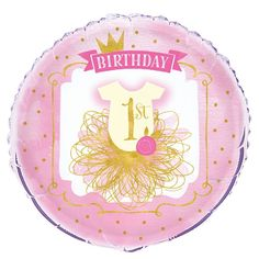 """18"""" Foil Pink and Gold Girls 1st Birthday Balloon: Amazon.ca: Home & Kitchen"""