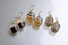 Tej Kothari Square Montana Agate Earrings