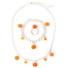 Halloween Glitter Candy Corn and Pumpkin Jewelry Set | Claire's