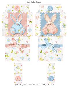 Digital Printable Bunny Tea Bag Envelopes 002