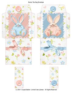 Digital Printable Bunny Tea Bag Envelopes 002