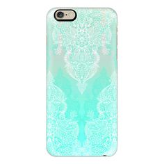 iPhone 6 Plus/6/5/5s/5c Case - Lace & Shadows in Mint, Aqua & White ($40) ❤ liked on Polyvore featuring accessories, tech accessories, iphone case, slim iphone case, iphone cover case, mint iphone case and apple iphone cases