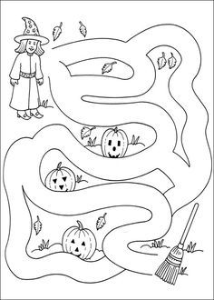 Labyrinth for printing - Halloween Suggestions Halloween Maze, Theme Halloween, Halloween Decorations For Kids, Halloween Crafts For Toddlers, Halloween Crafts For Kids, Halloween Activities, Holidays Halloween, Halloween Worksheets, Printable Halloween