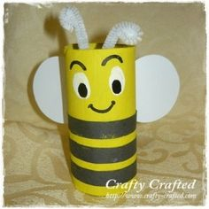 Toilet Paper Roll Bee a easy fun craft for kids to do Toilet Roll Craft, Toilet Paper Roll Crafts, Cardboard Crafts, Cardboard Playhouse, Insect Crafts, Bee Crafts, Diy For Kids, Crafts For Kids, Arts And Crafts