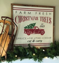 "2x2 Vintage Christmas Tree Farm Wall Decor, Framed Wood Sign, Retro Vintage Red Truck with Tree, Tree Farm, 24""x24"" huckleberryavenue on Etsy $75"