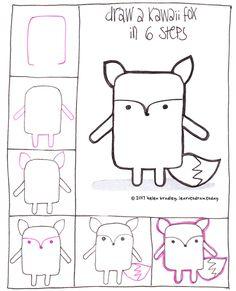 Learn to draw a kawaii fox in 6 steps...