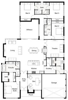 floor plans Floor Plan Friday: 4 bedroom, scullery, eNook Hamptons Style Redesign kids zone with one bathroom inc bath House Plans One Story, New House Plans, Dream House Plans, Modern House Plans, Floor Plans For Houses, Dream Houses, Modern Floor Plans, Floor Plan 4 Bedroom, Basement Floor Plans