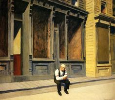 Sunday - Edward Hopper He included people in his work sparingly, but with sensitivity.  He showed people in their isolation; they never dominated or overwhelmed the setting.  Perhaps we are a speck in the greater scope of things.