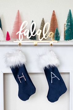 "See how to personalize stockings with a simple embroidery stitch! Using a satin stitch, this is a great beginner embroidery projects for Christmas.    #[""yarn & string"", ""Curbly-Original"", ""Christmas"", ""How-To"", ""contemporary"", ""embroidery"", ""gift ideas""]"