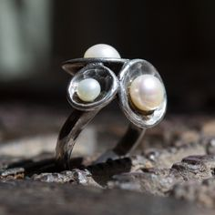 Sterling Silver Ring, cluster domes ring, unique pearls ring, silver pearls ring, hammered silver ring, Organic ring - Pearl Cluster R1558 by silvercrush on Etsy https://www.etsy.com/listing/252430671/sterling-silver-ring-cluster-domes-ring