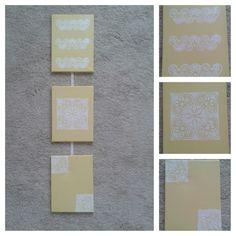 žlto-biele obrázky do chodby Diys, Frame, Home Decor, Picture Frame, Decoration Home, Bricolage, Room Decor, Frames, Hoop