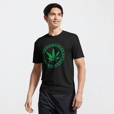 """Green Cannabis Leaf "" T-shirt by klyngiant 