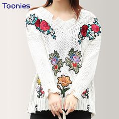 Retro Rose Embroidery Casual Ripped Loose Pullover