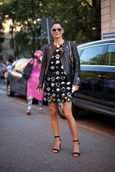 Miu Miu Embellished cutout suede dress paired w/ leather jacket & strappy sandals #StreetStyle