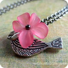 Petunia Perch frosted pink lucite flower and by HeatherlyDesigns, $10.00