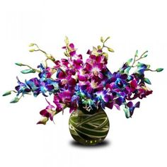 12 BLUe and purpal orchid arrangement with fish bowl