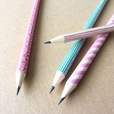 Make your own yum yum pencils with some washi tape.