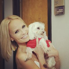 Backstage with Kristin Chenoweth and her fluffy friend! #TonightShow