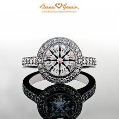 Brian Gavin Diamonds Halo Engagement Ring.   Custom halo setting for round, princess, cushion and radiant cut diamonds with channel set diamonds half way around the band - 10 stones on each side and diamonds in the halo. Total approx. .75 ctw F/G VS Brian Gavin Signature melee.