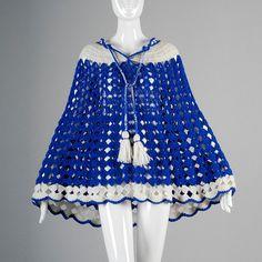 Vintage 70s Bright Blue White Open Crochet door StyleandSalvage