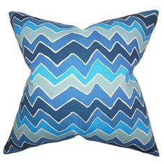 "Get ready to add a splash of color to your interiors by decorating this plush decor pillow. Play with your living room, bedroom or lounge area with this contemporary accent piece. Decorated with a zigzag pattern in various shades of blue, this 18"" pillow is perfect for indoor settings. Made of 100% soft cotton material. $55.00  #blue  #zigzag  #tosspillow  #pillows"