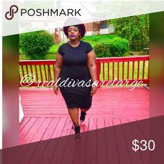 Capped sleeve midi dress Black Plus Size Midi dress Dresses Midi