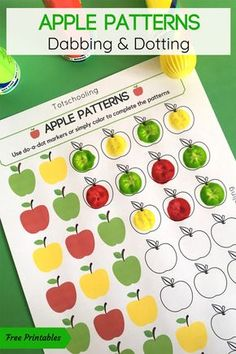 Apple Patterns Do-a-Dot Activity FREE printable Apple themed coloring activity for preschool and kindergarten kids. Use dot markers or any kind of coloring utensils to complete the apple patterns! Great math activity for Back to School or Fall! Preschool Apple Theme, Fall Preschool Activities, Preschool Lessons, Preschool Classroom, Preschool Learning, In Kindergarten, Kindergarten Apple Theme, Preschool Apples, September Preschool Themes