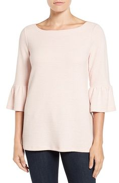 Free shipping and returns on Pleione Stripe Knit Bell Sleeve Top at Nordstrom.com. Striped patterning and ribbed texture create rich visual appeal for a jersey-knit top styled with a flattering boat neck and sweet bell-cuffed sleeves.