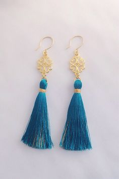 Tassel earrings long teal tassels and gold by SophieKateCouture