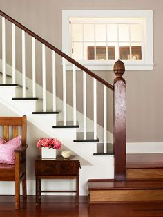 wooden stairs with rails painted out