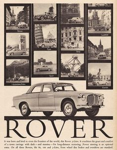 Rover Car Print 1961 Advertising Wall Art by RetroAdverts on Etsy
