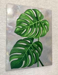 Small Canvas Paintings, Easy Canvas Painting, Diy Canvas Art, Plant Painting, Plant Art, Flower Line Drawings, African Art Paintings, Hawaiian Art, Leaf Art
