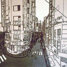 Line drawing of Shibuya.