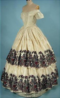 c. 1840's Magnificent Cut Velvet Ivory Silk Ballgown from the Bramwell Estate of New York