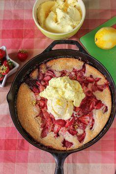 Strawberry Cobbler with Lemon Cream