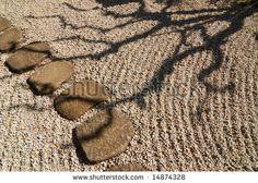 scenic tree shadow in Japanese zen garden