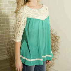 """Easy to love lace top-mint Material: 60% Cotton 40% Polyester   Measurements: Size small is approximately 26"""" in length, larger sizes will be slightly longer. Small: Bust: 35""""-36""""   Medium:  Bust: 37""""-38""""   Large:  Bust: 39""""-40"""" Tops Blouses"""