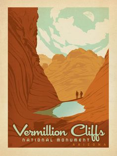 Vermillion National Monument - Anderson Design Group has created an award-winning series of classic travel posters that celebrates the history and charm of America's greatest cities and national parks. Founder Joel Anderson directs a team of talented Nashville-based artists to keep the collection growing. This print celebrates the painted beauty of Vermillion National Monument.<br />