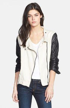 f44d03f826a rag   bone JEAN Leather Sleeve Moto Jacket