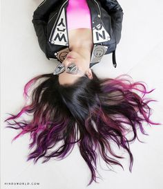 Pink and purple hair. done with manic panic hair dye. Click on link to see tutorial