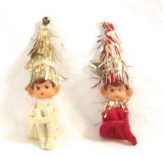 Knee Hugger Elf Ornaments, Pair of Vintage Elf Decorations (OB) by planetalissa…