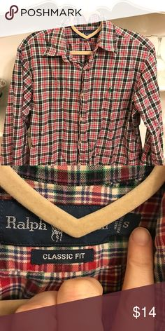 Vintage Ralph Lauren Plaid Button Down This is a classic shirt! Men's small but I wore as women's medium. No issues. Great under vests and such. Pet and smoke free home. Ralph Lauren Shirts Casual Button Down Shirts