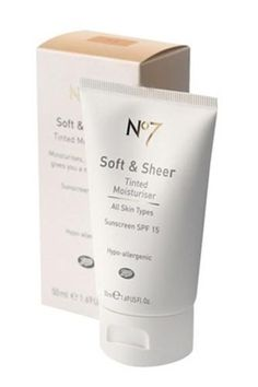 Boots No. 7 Soft and Sheer Tinted Moisturizer with SPF 15 - a great moisturizer that just happens to have a sheer wash of color. I'm a tinted moisturizer connoisseur and this is my favorite. Beste Foundation, Foundation For Mature Skin, Moisturizer With Spf, Moisturiser, Looks Black, Best Face Products, Beauty Products, Makeup Products, Make Up