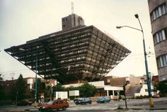 The Slovak Radio Building in Bratislava. This inverted pyramid was designed by Štefan Svetko, Štefan Ďurkovič and Barnabáš Kissling and it was completed in 1983.