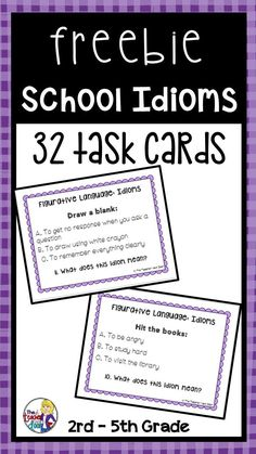 These 32 task cards focus on idioms related to school. They are perfect for Back to School but can be used throughout the year. These cards work well for all students whether they are English speakers or ESL students. Each card has a common idiom example,