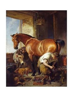 Shoeing Artist: Edwin Henry Landseer Completion Date: 1844 Style: Romanticism Genre: animal painting Technique: oil Material: canvas Gallery: Tate Gallery, London, UK Arte Equina, World Famous Paintings, Culture Art, Tate Gallery, Poster Prints, Art Prints, Art Graphique, Equine Art, Western Art