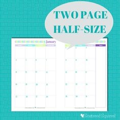 Free Printable 2015 Half Size Calendar with 2 Pages per month. | ScatteredSquirrel.com