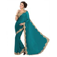 Party Wear Georgette Green Saree - EBSFS16538