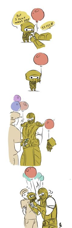 Balloons by zetsumeininja on DeviantArt Mortal Kombat Comics, Mortal Kombat Memes, Mortal Kombat Art, Noob Saibot, The Loud House Fanart, Drawing Games, Snoopy Love, King Of Fighters, Fighting Games
